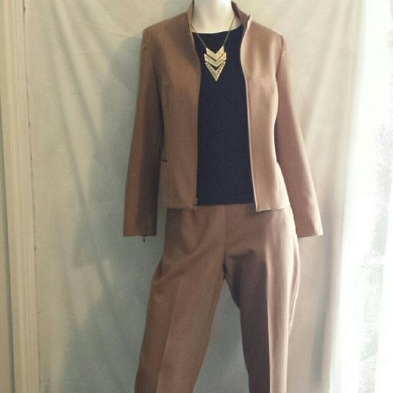 "☆☆☆HP☆☆☆Pendleton Pantsuit Gorgeous brown Pendleton pant suit 100 percent virgin wool. The jacket and pants are fully lined. The jacket has a zip up front, zippers on each sleeve cuff and zipper front pockets. Very neat and sophisticated. Sleeves measure 23"" and jacket length is 21"". Pants have side zipper and button closure. Loops for thin belt if desired.  Inseam is 30"" and rise is 12 1/2"". EUC dry cleaned and ready to go! Pendleton Pants"