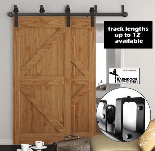 Double Track Bypass Sale Barn Door Hardware Kit For 2 Doors On 2 Tracks 22 Shipping Low Profile Brackets Double Sliding Barn Doors Diy Barn Door Sliding Doors Interior