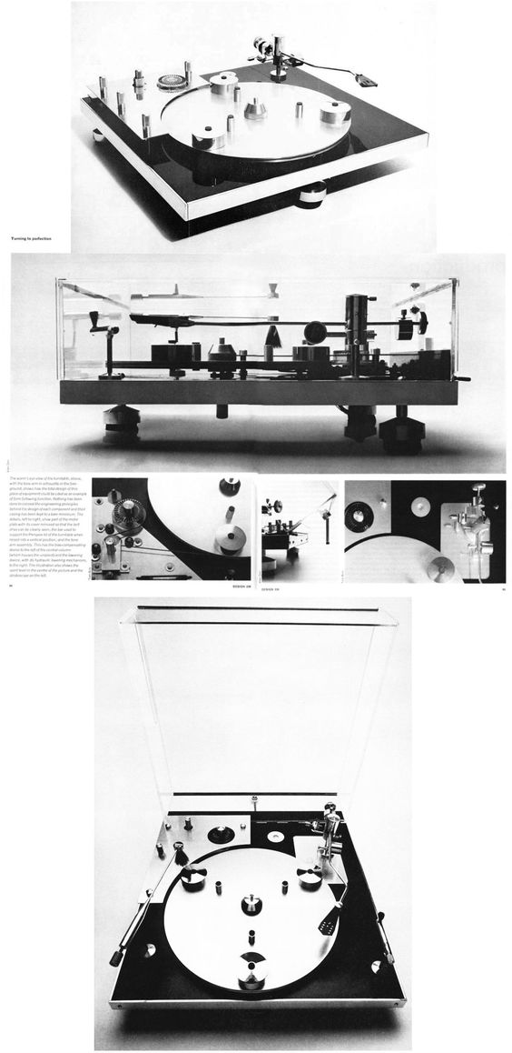 David Gammon, Transcriptor Hydraulic Reference turntable, featured in Design Journal, 1968, London. This turntable (with only three feet) is famous for being shown in the movie Clockwork Orange. Gammon designed the record player for his state-of-the-art Transcriptor tone arm, launched 1964. (open image in a new window for zoomable super-size)