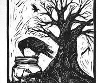 Kraai en mason pot - Linosnede afdrukken