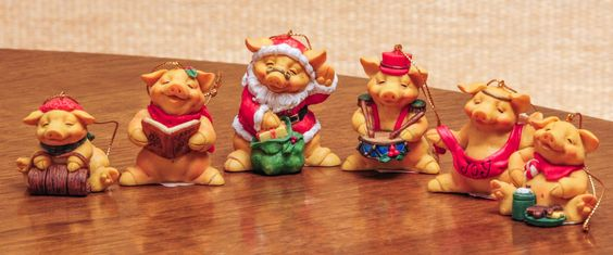 Pigsville Christmas Collection Set of 6 Holiday Piggy Figurine Ornaments NIB by RebornToAdorn on Etsy