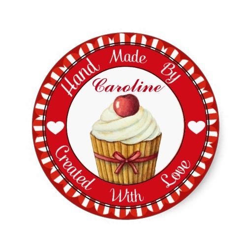 Cupcake Hand Made By Sticker - SRF - http://www.zazzle.com/cupcake_hand_made_by_sticker_srf-217151822049262068