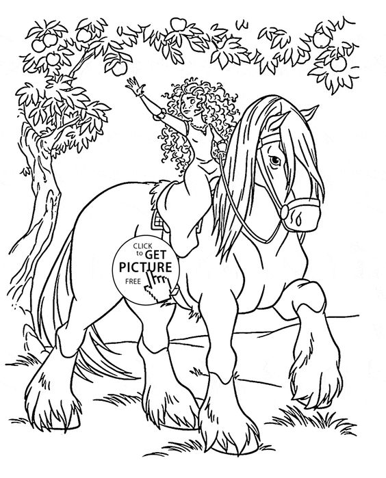 Disney Princess Merida Rides A Horse Coloring Page For Kids Disney Princess Coloring Pages