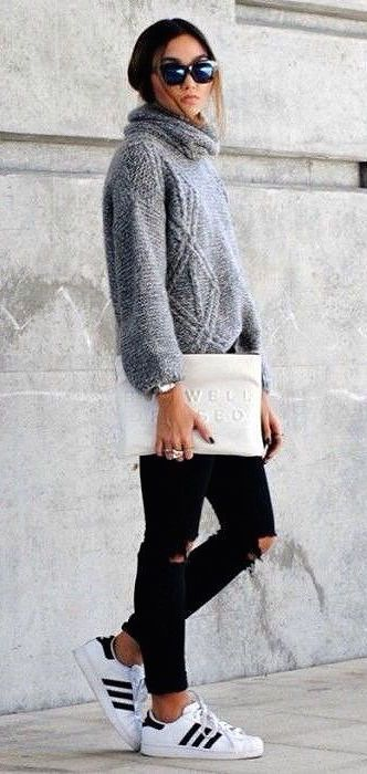 #street #style / casual + gray knit:
