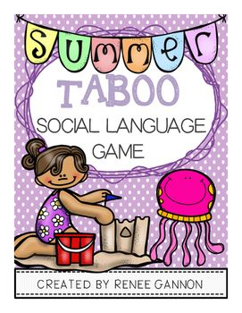 """This+download+contains:-40+summer+themed+cards+suitable+for+game+play-Cheat+sheets+for+visual+supportStudents+will+have+fun+describing+vocabulary+while+playing+this+fun+game.+Students+try+to+describe+vocabulary+while+avoiding+the+""""taboo""""+words.+Students+will+have+to+use+strategies+such+as+describing+categories,+parts+and+functions."""