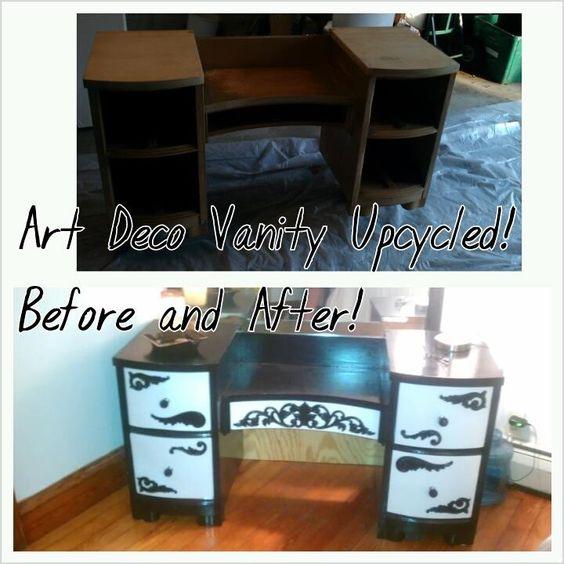 Upcycled custom painted vintage vanity