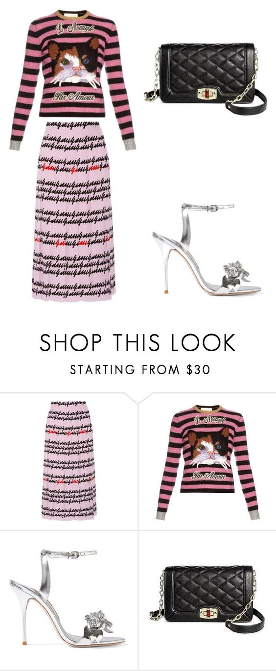 """Pretty in Pink"" by lisamenaster ❤ liked on Polyvore featuring Gucci, Sophia Webster and Merona"