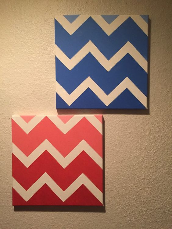 Chevron Color Decrotive Paintings by Guspaints on Etsy