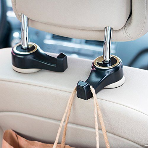 Toplus 4 PACK Car Headrest Hooks Coloured Vehicle Universal Car Organizer Car Back Seat Headrest Hanger Holder Hook for Bag Purse Cloth Grocery Cream