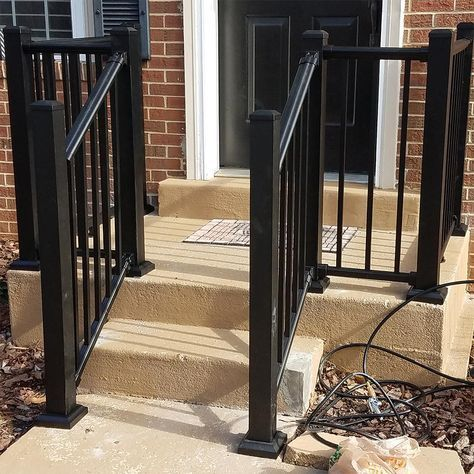 Weatherables Classic Square 3 5 Ft H X 70 1 2 In W Textured Black Aluminum Stair Railing Kit Wbr J42 A6s Stair Railing Kits Outdoor Stair Railing Railings Outdoor