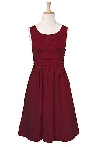 Pleat waist cotton dress in Crimson