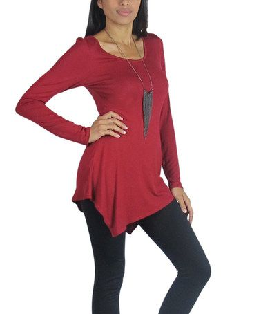 Another great find on #zulily! Burgundy Asymmetrical Handkerchief Tunic- - Women #zulilyfinds