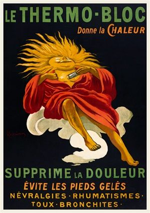 Le Thermo Bloc poster by Cappiello 1919 France - Beautiful Vintage Posters Reproductions. French medical advertisement features a caricature man with sunny smiling face on a black background. Giclee Advertising Prints