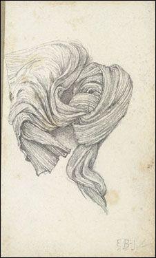 Edward Burne-Jones, Drapery Study (Sketchbook, page 9), 1870s-80s.  (Courtesy of the Fogg Art Museum, Harvard University Art Museums)