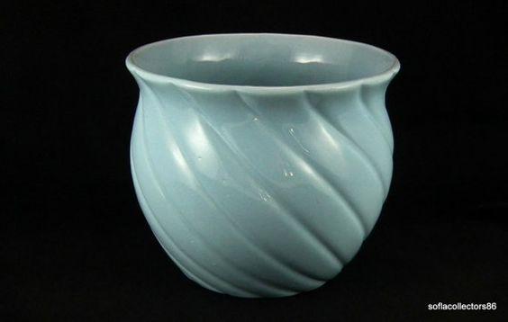 Large Art Pottery Twist/Swirl Pattern Jardiniere - Gloss Kraft Blue  By soflacollectors86 on Etsy, $50.00