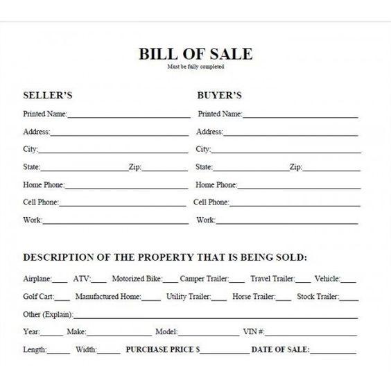 bill of sale form texas pdf