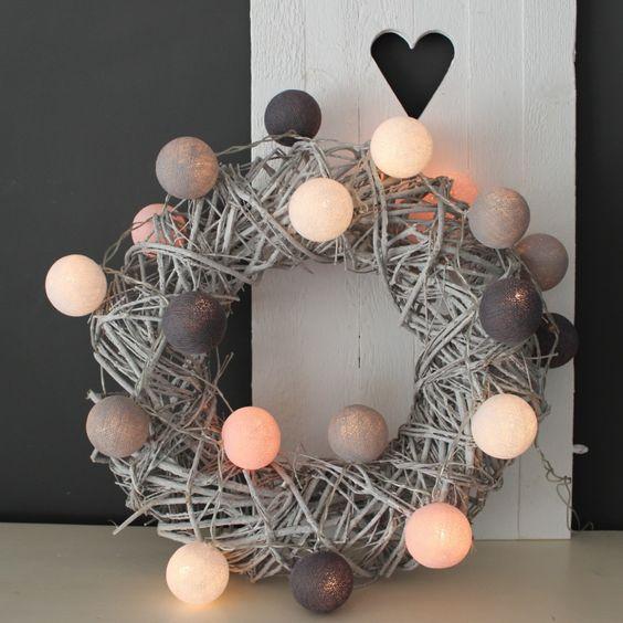 Cotton Ball Lights Pastel Roze/Grijs   Cotton Ball Lights   Puur & Mooi wonen