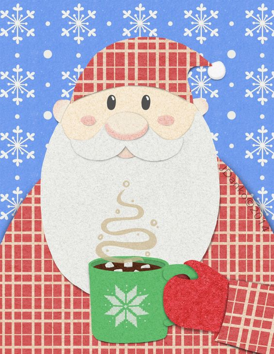 So a little late:) but it's been a busy couple of days so last night I finally got some free time to work, and came up with a Santa ready for good nights rest all warm and toasty in his pjs with his hot coco. So Merry Christmas to all and to all a good night!