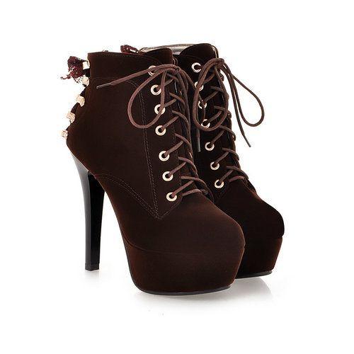 2015 dedo do pé redondo saltos finos ankle boots para mulheres inverno casamento plataforma de casamento lace up mulheres sapatos em Botas - Masculino de Sapatos no AliExpress.com | Alibaba Group