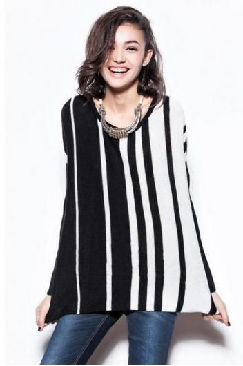 Vertical stripes wild section containing wool pullover sweater(2 colors)_Sweaters_CLOTHING_Voguec Shop