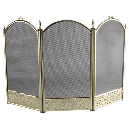 ACHICA Inglenook 3 Panel Firescreen with Filigree, Brass