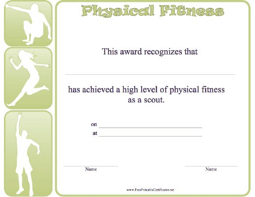 Honor the achievement of a high level of physical fitness of your - microsoft word gift certificate template free