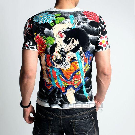 Trendy Japanese Ukiyo-e Style Vanquishing Discharge Printing Short Sleeves Crewneck Tee