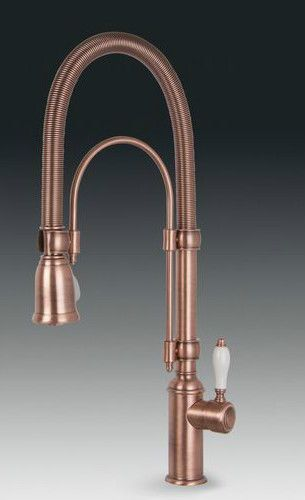 Copper Kitchen Tap Smeg Midr7ra Italian Kitchen Sink Single Lever Mixer Tap Pull Out Spray Copper Coppe Copper Faucet Copper Kitchen Faucets Kitchen Taps