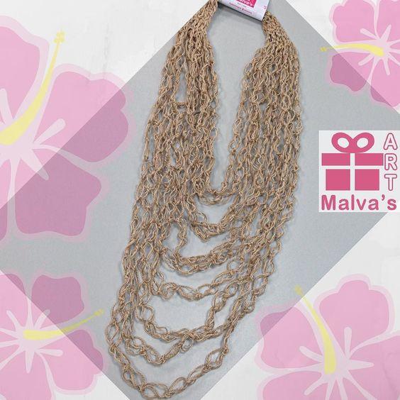 Romántico #Collar #tejidos  amano en #crochet  Modelo Espuma de mar hilo #algodón #mercerizado tonos #beige  síguenos en #malvasartvzla  04142210289