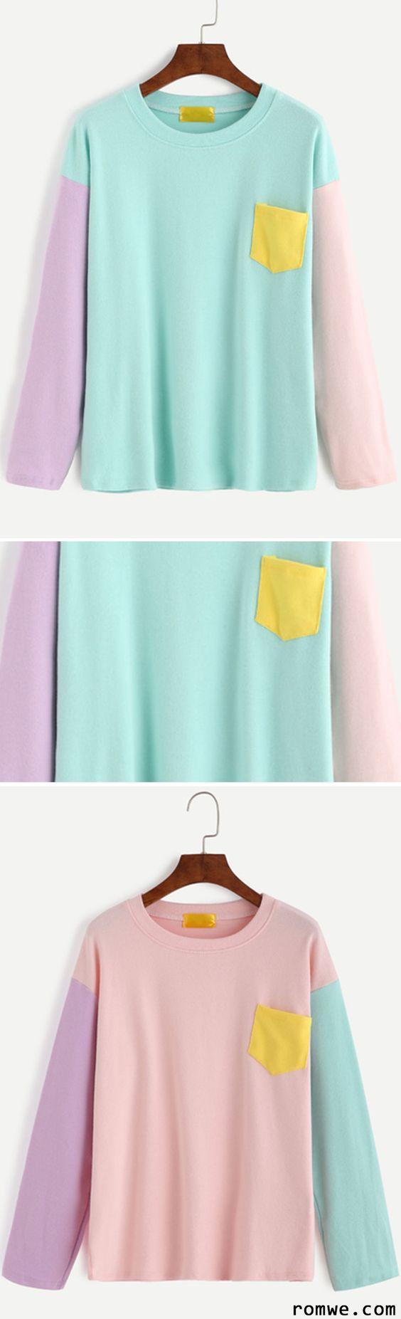 Color Block Dropped Shoulder Seam Patch Pocket T-shirt