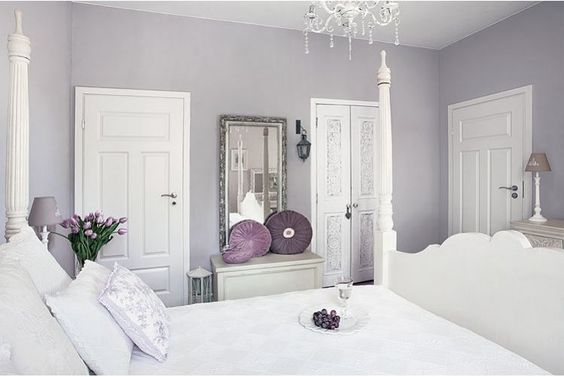 Little Emma English Home: A romantic white Wondering how this blushing purple color would look with the hardwood in the bedroom...