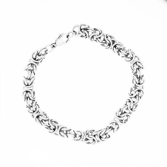 "Stainless Steel Byzantine Men's Bracelet 8"" Long"