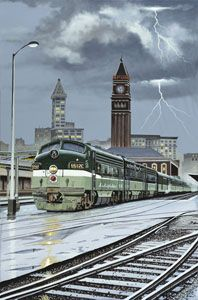 """On this cool stormy afternoon, passengers stay warm and dry aboard Northern Pacific's train 26, the """"North Coast Limited"""" as it prepares to depart from Seattle's King Street Station on its way to Chicago. """"North Coast Limited"""" by Shayne."""