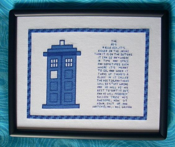 tardis x-stitch!  and a gaiman quote!