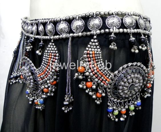 NW Kuchi RARE Belly Dance Belt Jewelry Costume Hip Skirt Ethnic Tribal Gypsy ATS   eBay