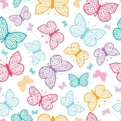 Floral butterflies vector seamless pattern background - Stock Footage | by Oksancia