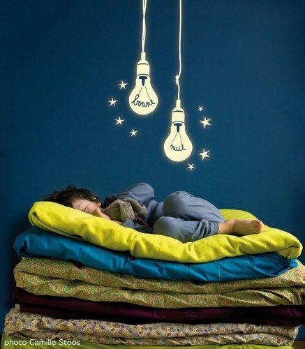 Stickers muraux ampoules phosphorescentes - Stickers Mimi' Lou - Chambre d'enfant : 90 idées pour les faire rêver