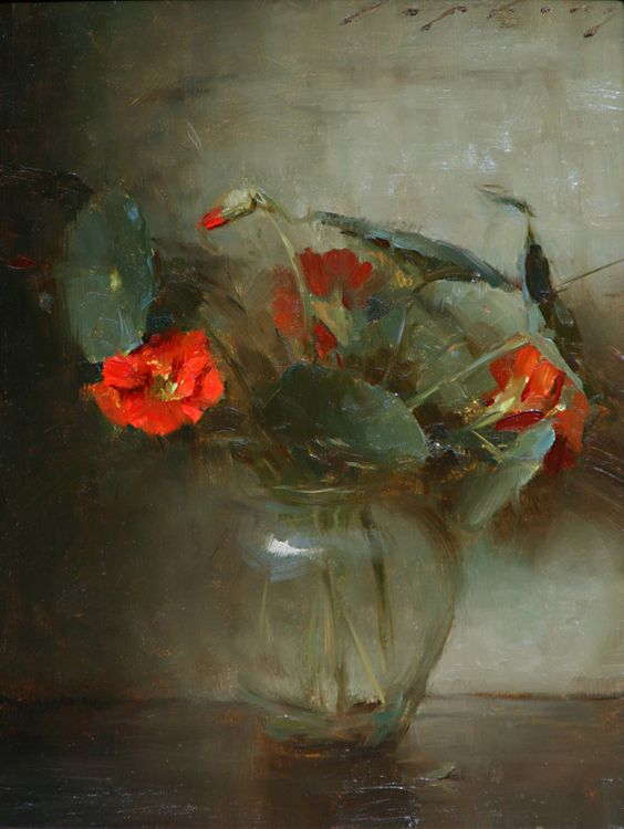 """Lipking Absolutely stunning! The transparency of the vase, the brilliance of the red/orange flowers, this painting is another that I would love to see """"face to face"""" for hours..."""