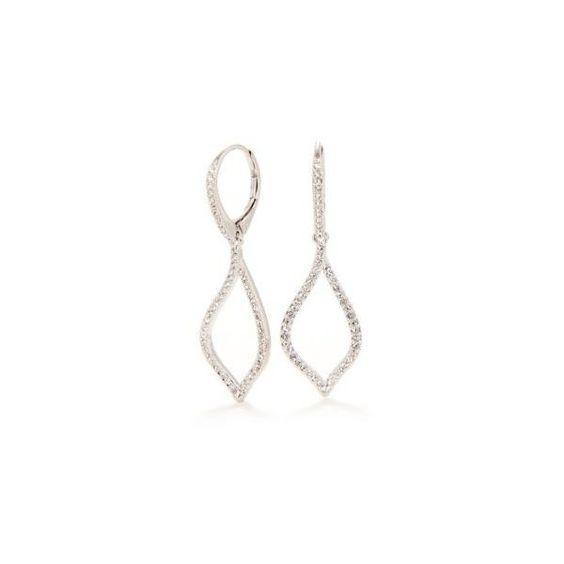 Nadri Silver Pave Fluid Link Earring ($18) ❤ liked on Polyvore