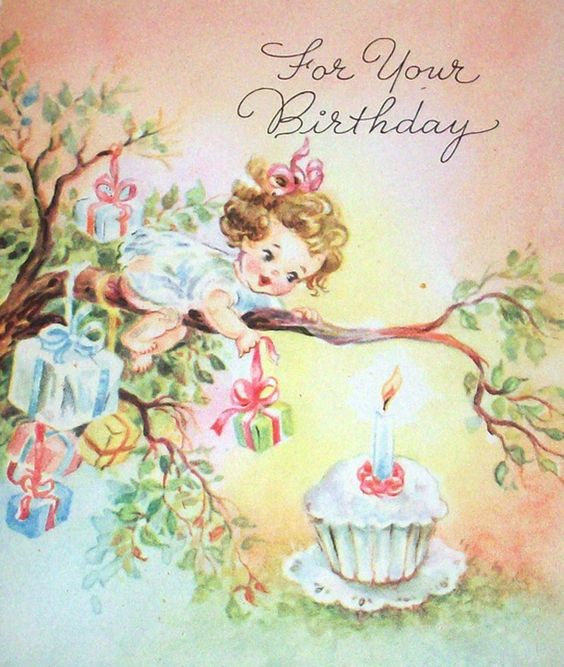 Images Of Vintage Girls First Birthday Card: Cute Little Girl, But The Makers Of This Card Show A