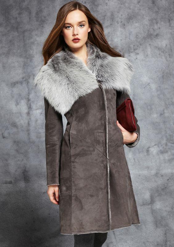 Badgley Mischka shearling coat with fur collar