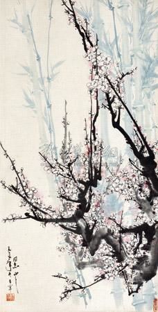 Artwork by Yu Xi'ning, BAMBOOS AND PLUM BLOSSOMS, Made of ink and color on paper