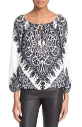 Alice + Olivia 'Naya' Print Peasant Top