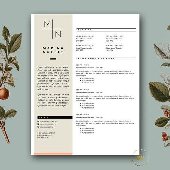 Professional Resume Template Cover Letter for MS Word Medical CV