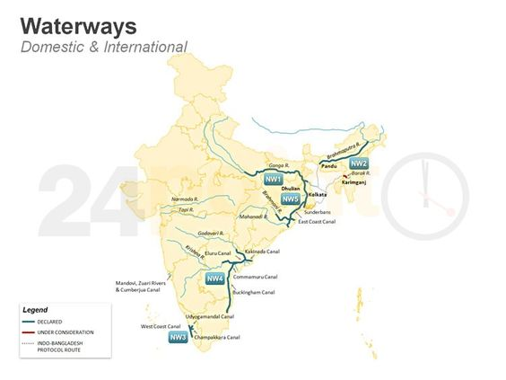 Waterways - Networks in India Transportation Map