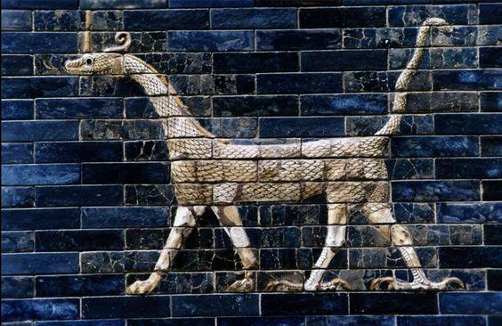 phantasmagoricaldreams:  Detail of a Mushussu, symbol of the god Marduk, from the Ishtar gate. Babylon (575 BC)