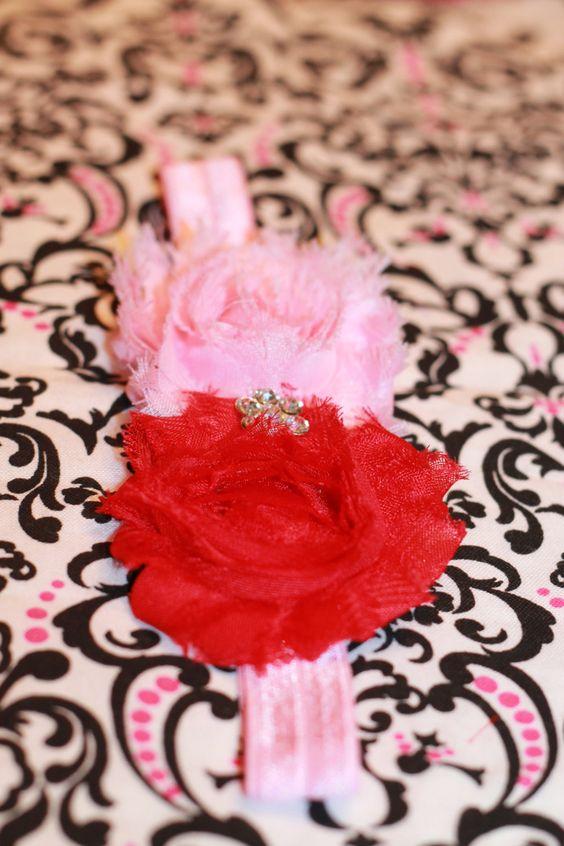 Valentine's Day Shabby Flower Headband by miniME for newborn baby infant toddler girl women. $12.00, via Etsy.