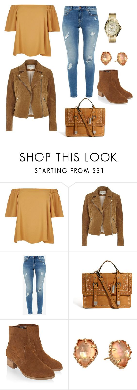 """Untitled #9536"" by beatrizibelo ❤ liked on Polyvore featuring River Island, Ted Baker, Monsoon, Kendra Scott and FOSSIL"