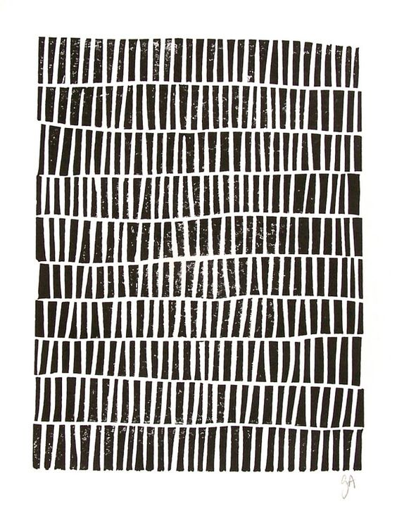 Negro de impresión - diseño geométrico - LINOGRABADO bloque de impresión 8 x 10…