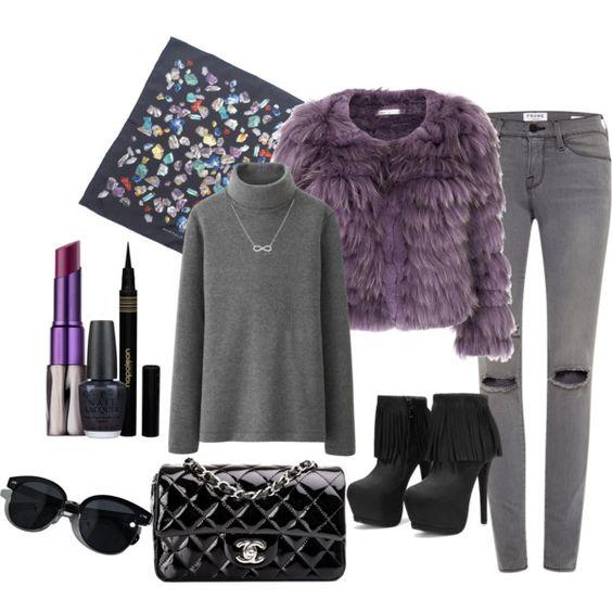 """""""purple fur jacket"""" by dalia-487 on Polyvore"""
